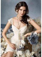 2012 V-neck White Straps Ruffles Sexy tea length chiffon iVORY bridesmaids dresses