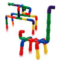 Plastic pipe building blocks plastic insert blocks pipe type assembling building blocks educational toys child blocks