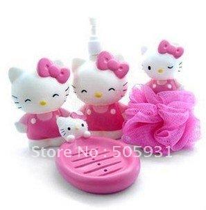 free shipping, cute hello kitty bathroom set, 4pcs 1 set, wholesale, toothbrush holder,Soap box,Bath ball,Liquid soap bottle