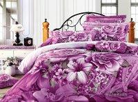 new arrivals cotton high quality 4pc bedlinen purple fabulous floral purple 4pcs Queen/full bed comforter duvet covers sets