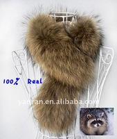 Free Shipping QD-015 Knitting 100% real/genuine RACCOON Badger FUR Best quality Neck Warmer/Scarf 68*10cm China post air mail