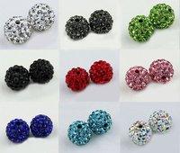 Free DHL Fedex 500Pcs/lot Wholesale  DIY fashion 10mm Rhinestone Pave Disco ball Shamballa Crystal beads for Bracelet  necklace