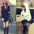 Free shipping thickening outerwear women's autumn and winter with a hood casual long design sweatshirt
