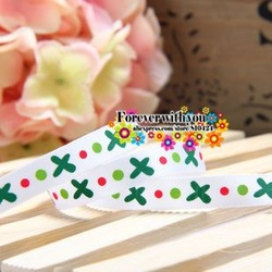 New arrival FREE SHIPPING wide:9mm Christmas picture printed ribbon for hair gift bow 70yards white(China (Mainland))