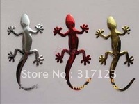 Free shipping (50PCS/LOT) Wholesale 3D PVC Gecko Cool Car Decals Stickers Small Size 10cm Bumper Stickers vehicle decals