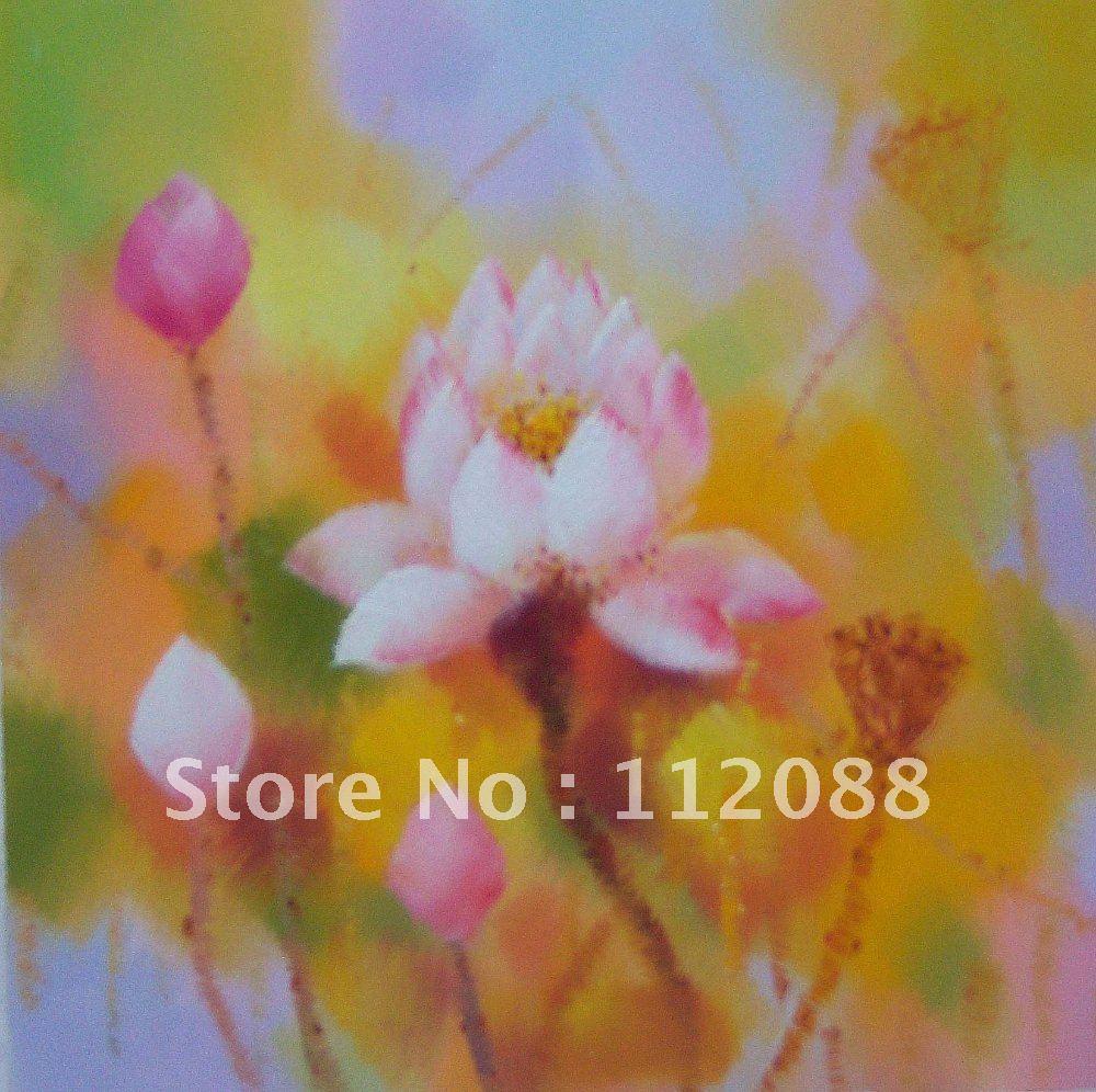 Famous Paintings of Flowers Lotus Flower Oil Painting