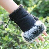 Free Shipping New Fashion Women's Rabbit Fur Hand Wrist Warmer Fingerless Winter Warm Gloves For Keyboard 5 colors Hot Sell