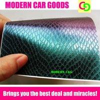 152cm x 30m x 0.26mm green snake skin chameleon vinyl film car vinyl car wrap colorful car stickers with air drains