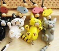 Cute Cartoon wooden sleepy cats mobile phone Charm/Strap/keychain A475