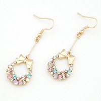 Min Order $10 Fashion  bow earrings long design  cutout earrings
