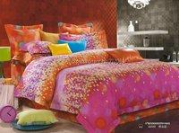 4pcs King/Queen/Full comforter/quilt/duvet covers sets orange rose circle colorful checker mordern pattern reactive sanding