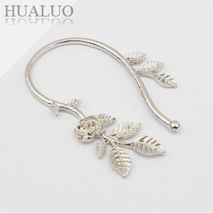 Min.order is $10 (mix order)Free Shipping New Punk Lovely Rose Flower Leaf Leaves Ear Cuff Wrap Earring(Silver) E253(China (Mainland))