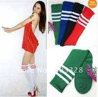 Hot Selling!Youth multicolor tube soccer socks football stockings Basketball Over Knee socks