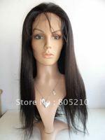 New glueless cap human hair full lace wig 18inch #1b yaki