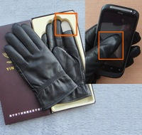 Mobile Phone touch Mens  Genuine Leather Black Gloves New Police gloves