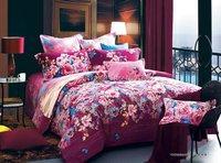 newest reactive sanding colorful flower floral pattern elegance pink red 4pcs King/Queen/Full quilt/duvet covers sets bedlinen