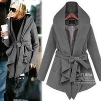 Free shipping - fashion normic casual fashion Dark gray black medium-long outerwear women winter coat