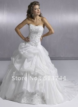 Cheapest Delicate Ball Gown Beads Working Taffeta Lace Chapel Train Bridal Dresses Custom Any Color/Size