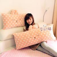 Large 95cm double pillow ant high quality sleep rabbit pear polka dot rabbit fur plush doll cushion pillow ,Free shipping