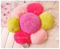 Pink petal multi-colored big flower soft lamb polyester plush cushion