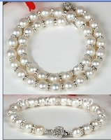 WHITE CULTURED AKOYA PEARL NECKLACE BRACELET SET