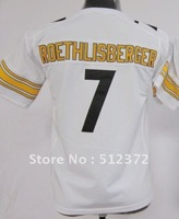 Free Shipping!!! 2012 new style #7 Ben Roethlisberger youth kids jersey white