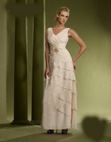 2013 New Arrival!! Free Shipping!A-line shoulder straps v-neck tiered chiffon beaded ankle-length custom-made dress for wedding