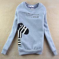 Free Shipping 2013 Winter New Fashion Fleece Thick Sweatshirt Female Student Hoody Lovely Horse