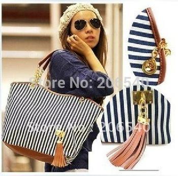 Free shipping Fashion New Women's Stripe Street bags Snap Candid Tote Shoulder Bag Handbags 2012 Canvas drop shipping
