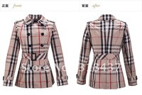 2012 high quality  women's plaid slim elegance  double breasted short trench coat  with gridles
