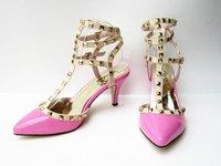 12cm Metal Rivets Decoration High Heels Women Pumps 2014 New Arrival Super Star Loved Women Party Shoes