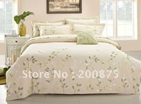 Free Shipping - 40s 100% Sateen cotton Green Leaf  Embroidery luxury bedding set / 4pcs duvet cover/bed linen