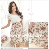 Free shipping,PROMOTION,Hot Sale Ladies Dress,Women Dress,Floral Chiffon Dress0128