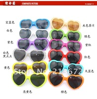 free shipping-Party Sunglasses Love Heart Sunglasses Heart Shape SunGlasses wholesale &retail--10pcs/lot-12 color can choose