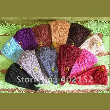 Free shipping 60pcs/mix colors New fashion Head Wrap Cap Hand Knit Crochet Cute Flower & Winter Headband Accessories ladies hats
