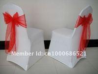 100pcs Spandex chair cover/  wedding chair covers+100pcs Red organza chair sashe