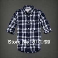 2012 New Hot Fashion Color The Fashion Leisure Han Edition Plaid cotton Men Shirts Size S, M,L,XL,XXL,Free Shipping