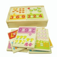 Free shipping  number puzzle/baby puzzle/wooden toy/10 pcs a set in a wooden box