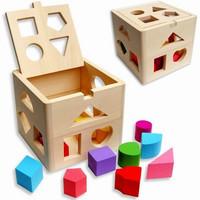 Free shipping  intellectual box shape wooden blocks puzzle magic cube
