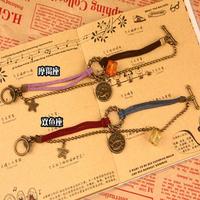 0925 diy handmade vintage accessories colorful velvet rope circle twiner ring bracelet