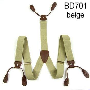 Mens Adjustable Кнопка holes Unisex suspenders Сплошной Бежевый Женщиныs braces ...