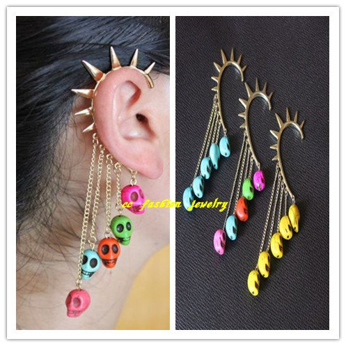 Gothic Skull Ear Cuff Chain Tassels Bangle Earrings NO PIERCING Punk Fancy Dress 12pcs/lot CC227(China (Mainland))