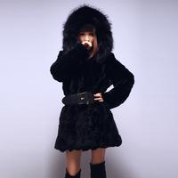 (In stock)2012 New Winter Long-sleeve Womens Slim Rabbit Fur Coat Hoodie Large Raccoon Fur Collar Overcoat Supply,Free Shipping