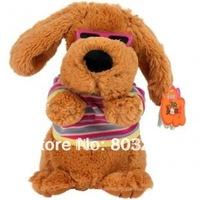 Child electric plush toys, music dog, glasses dog electronic pet,plush dog-Free Shipping