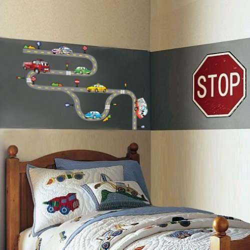 Muurstickers kinderkamer slaapkamer bed achtergrond weg cursussen cartoon auto decoratie in - Slaapkamer autos ...