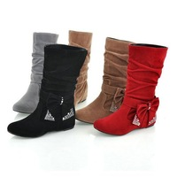 Free shipping New lovely Style BIG Biwte Rhinestone Mid Calf Faux suede boots Flat women's shoes