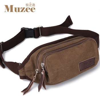 Free Shipping Casual male waist pack 100% cotton canvas man bag small bags multifunctional outdoor waist pack