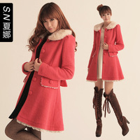 Free shipping, autumn and winter fur collar woolen outerwear female woolen overcoat female