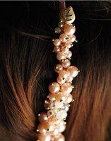 Handmade beaded leaves pearl amphibole crystal mixed hair hoop hair ornament tire