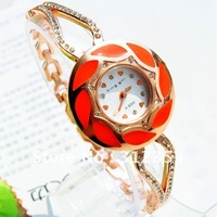 new arrival 10pcs/lot lmix order leaf design lady fashion watch , students bracelect watch with crystal free shipping 8 colours